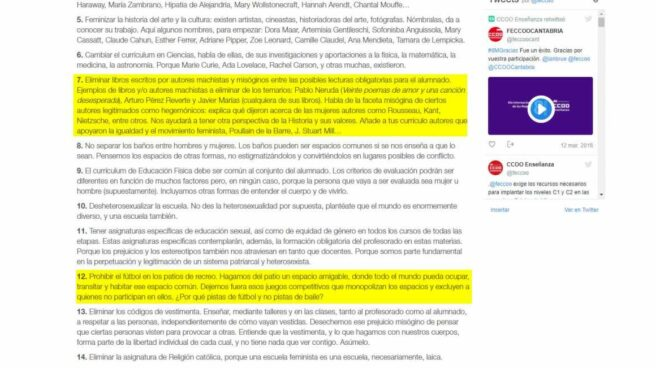 'Decálogo para una escuela feminista'.