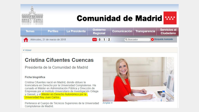 Extracto del currículo oficial de Cristina Cifuentes, que puede consultarse en la web de la Comunidad de Madrid.