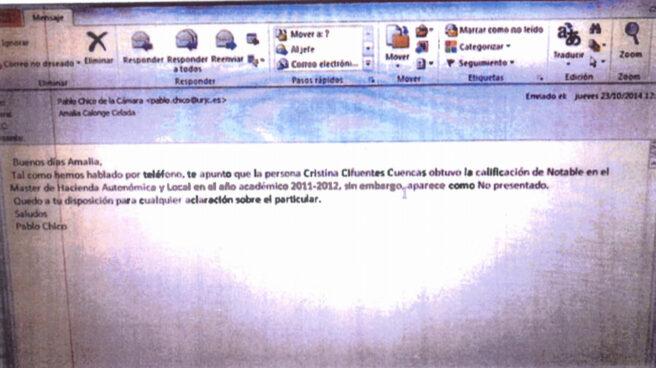 Pantallazo del correo electrónico donde se pedía el cambio de nota por un error