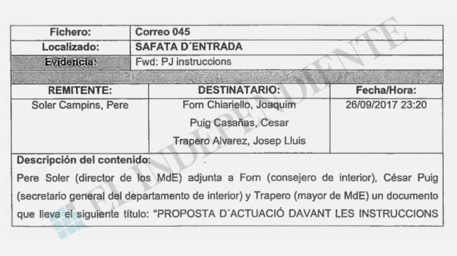 Correo de Pere Soler a Forn y Trapero