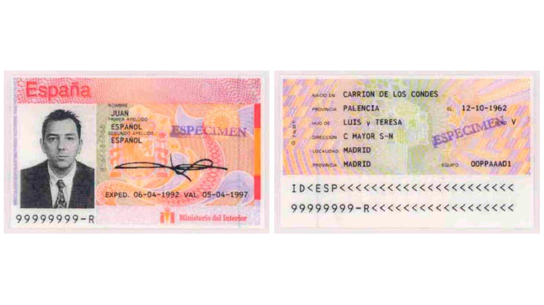 El primer DNI informatizado regulado por Orden del Ministerio del Interior de fecha 12 de julio de 1990. No figura impresión dactilar y si dos líneas de caracteres OCR.