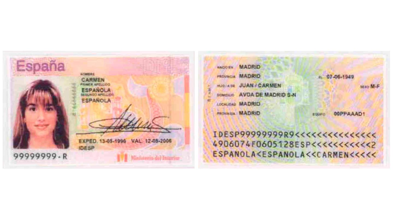 La tercera tarjeta informatizada, añade una línea con la identificación española (IDESP) y el apartado sexo se consigna M-F (femenino) y V-M (Masculino)