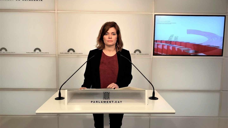 La portavoz de Catalunya En Comú-Podem, Elisenda Alamany, este lunes en el Parlament.