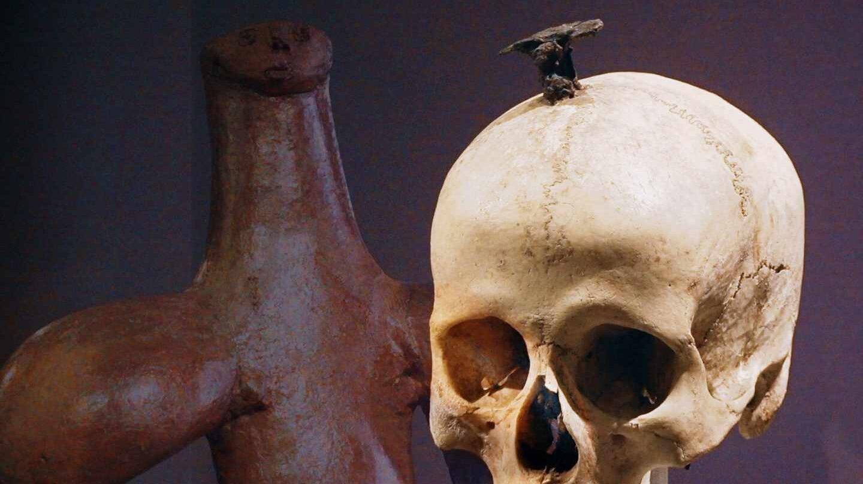 """El ídolo de Tara y un cráneo enclavado de la exposición """"El poder del pasado"""""""