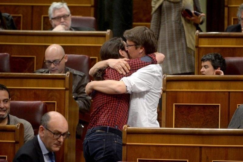 Pablo Iglesias y Xavi Domènex, en 2017 en el Congreso de los Diputados.