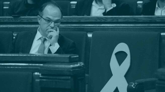 El diputado de JxCat Jordi Turull, durante el pleno de investidura del Parlament.