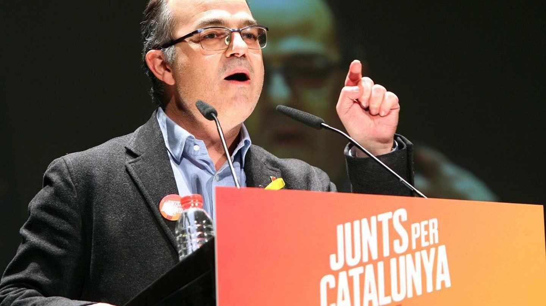 El candidato a la investidura, Jordi Turull, durante un mitin de campaña.