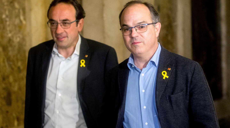 Los ex consejeros Josep Rull y Jordi Turull, en el Parlament.