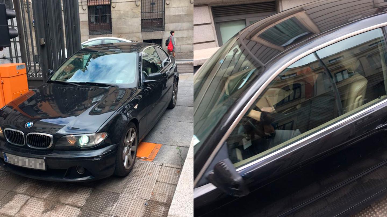 Juanma Del Olmo conduciendo el BMW no declarado este martes, a su llegada al Congreso de los Diputados.