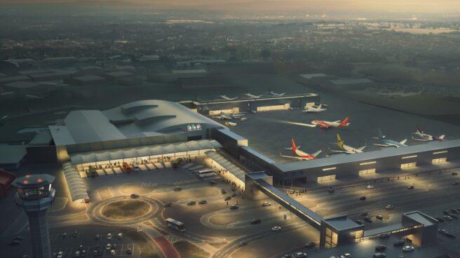 Recreación de la ampliación del aeropuerto de Londres-Luton.