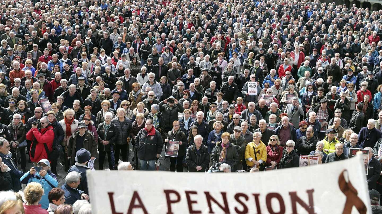 Manifestación de pensionistas en Bilbao, el pasado lunes 12 de marzo.
