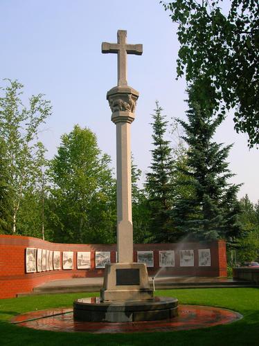 Monumento a Félix Rodríguez de la Fuente en la ciudad de Anchorage.