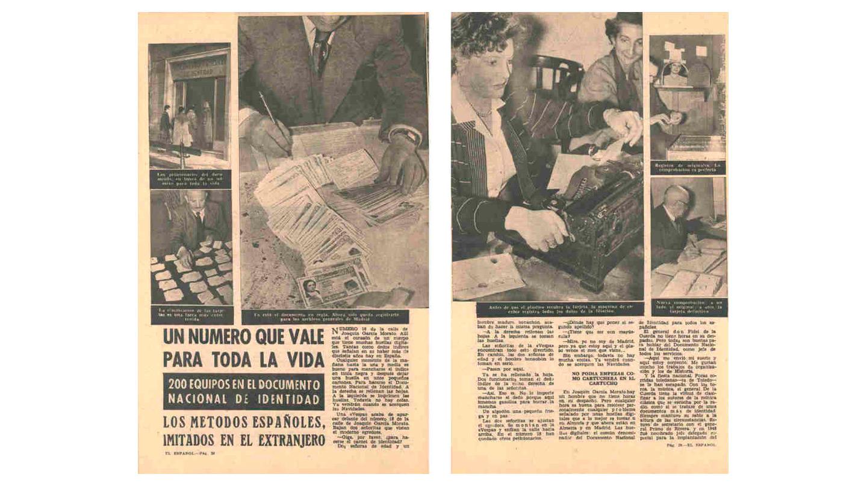 El modelo del primer DNI fue elegido por concurso publicado en el BOE en fecha 10 de mayo de 1946 en el que se instaba a los ciudadanos a presentar sus bocetos para ganar un premio consistente en 30.000 pesetas.