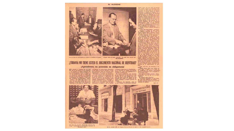 El ganador del concurso de diseño del Documento Nacional de Identidad fue el modelo presentado por D. Aquilino Rieusset Planchón. Se expidió por primera vez en Valencia el 20 de Marzo de 1951.