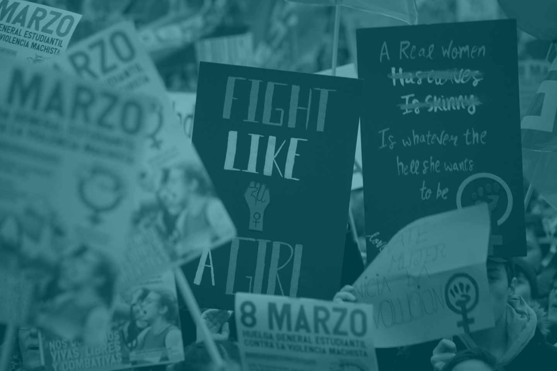 Pancartas en la manifestación feminista de Madrid.