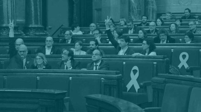 La bancada independentista del Parlament.