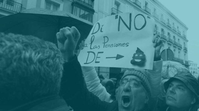 Un jubilado protesta en la marcha de Madrid.
