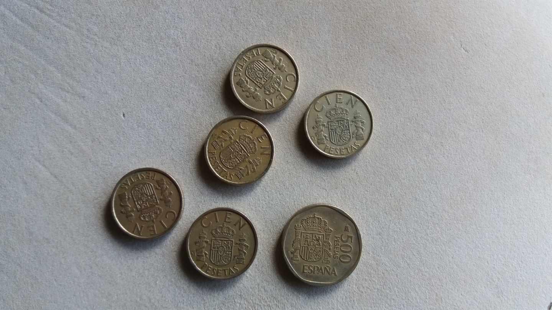 Monedas de las antiguas pesetas.