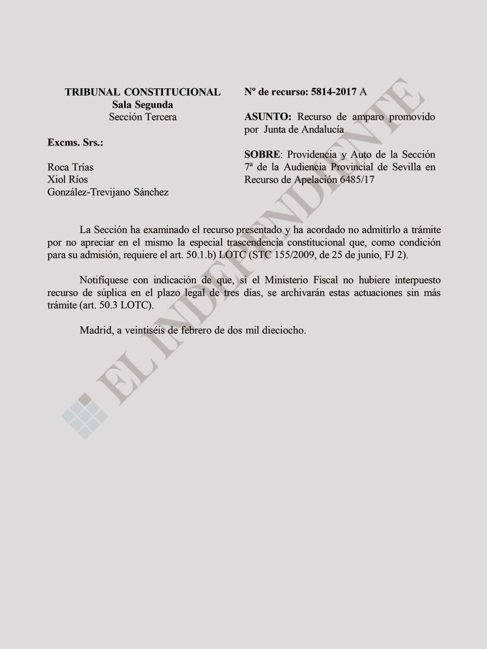 Recurso Junta Andalucía - Caso ERE
