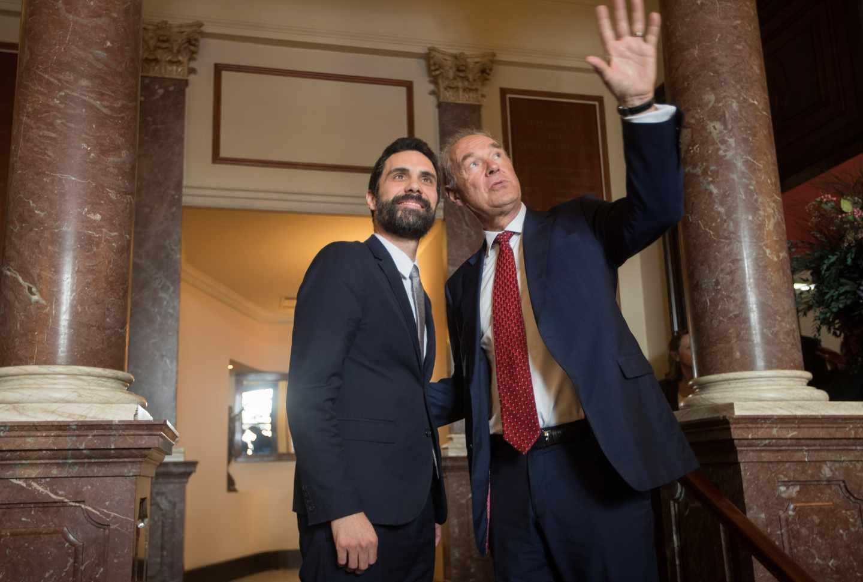 Roger Torrent y el empresario alemán Albert Peters, este martes durante un encuentro.