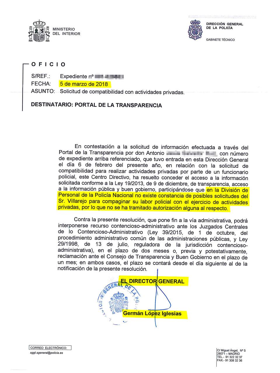 Oficio en el que la Dirección General de la Policía admite que Villarejo no solicitó autorización para compaginar su labor policial con su faceta de empresario.
