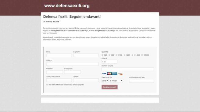 Web de donaciones creada por los ex consellers fugados.