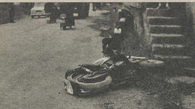 Motocicleta empleada por José Antonio Pardines, primera víctima de ETA, y que utilizó para detener a dos etarras antes de ser asesinado en Aduna (Guipúzcoa)