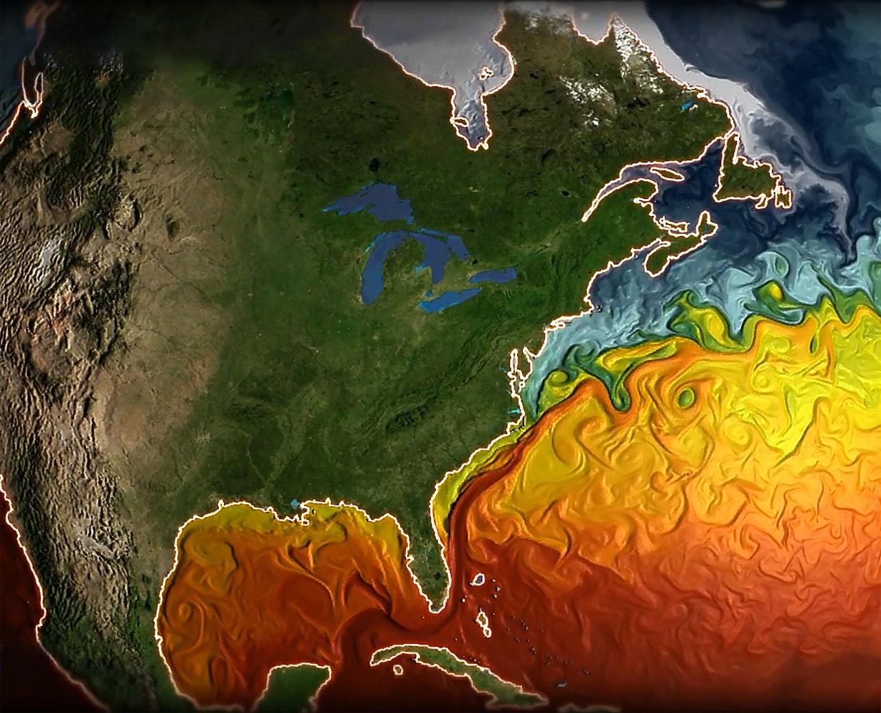 Imagen de la temperatura de las corrientes marinas.