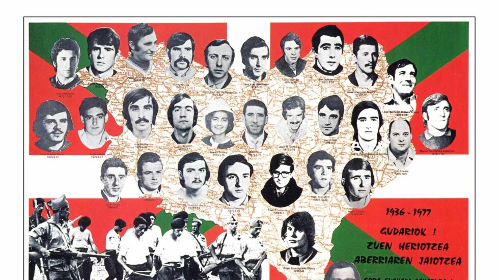 Cartel propagandístico de ETA pubicado en 1977 con todos los mimebros de la banda muertos. Txabi Etxebarrieta, en la parte inferior y en el centro.