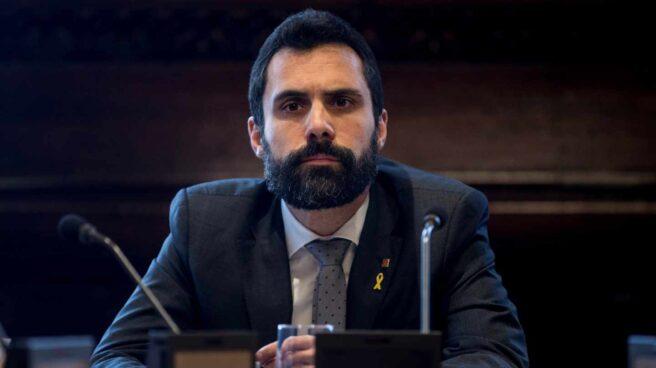El presidente del Parlament durante la reunión de la Mesa que ha admitido el voto delegado de Puigdemont