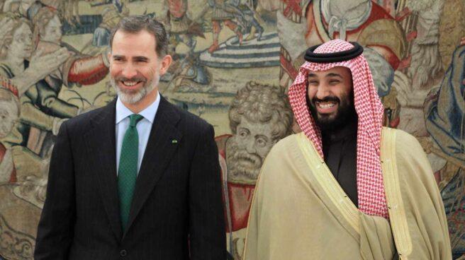 El rey Felipe recibe al príncipe heredero saudí, Mohamed bin Salmán.