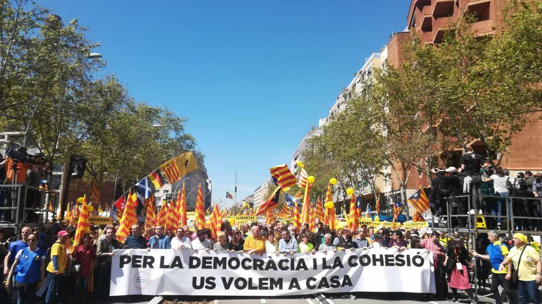 Cabecera de la manifestación independentista en Barcelona.