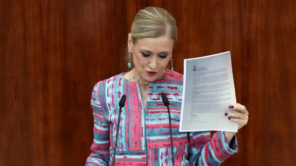 Cristina Cifuentes comparece en la Asamblea de Madrid.