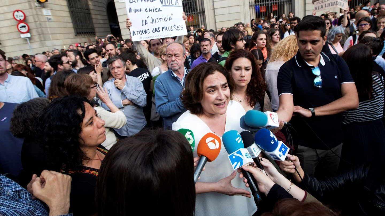Ada Colau, en la protesta en Barcelona contra la Manada.