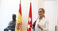 Cristina Cifuentes, durante su comparecencia para anunciar su dimisión como presidenta de la Comunidad de Madrid.