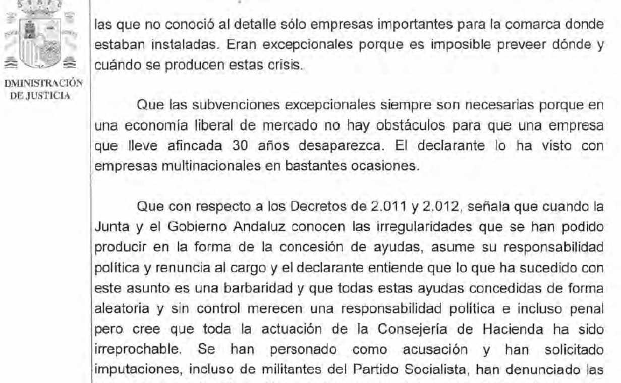 Acta de declaración como imputado de José Antonio Griñán en el Tribunal Supremo el 9 de abril de 2015.