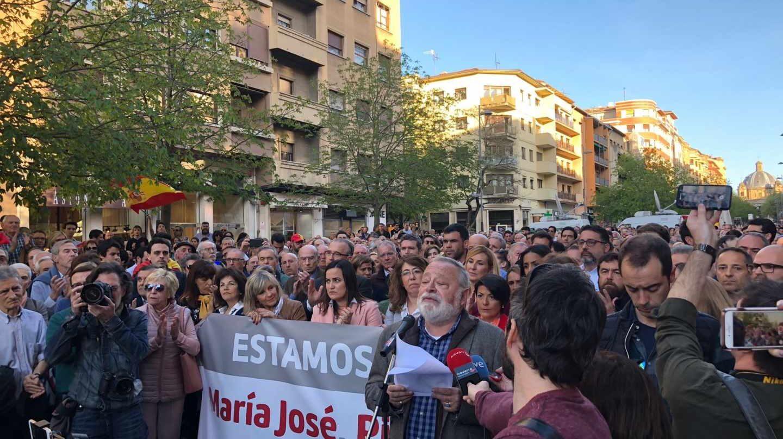 El filósofo Fernando savater durante su intervención en el acto de apoyo a las cuatro víctimas de la agresión de Alsasua.