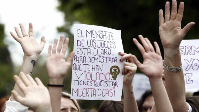 Protesta contra la sentencia de la Manada en Pamplona.
