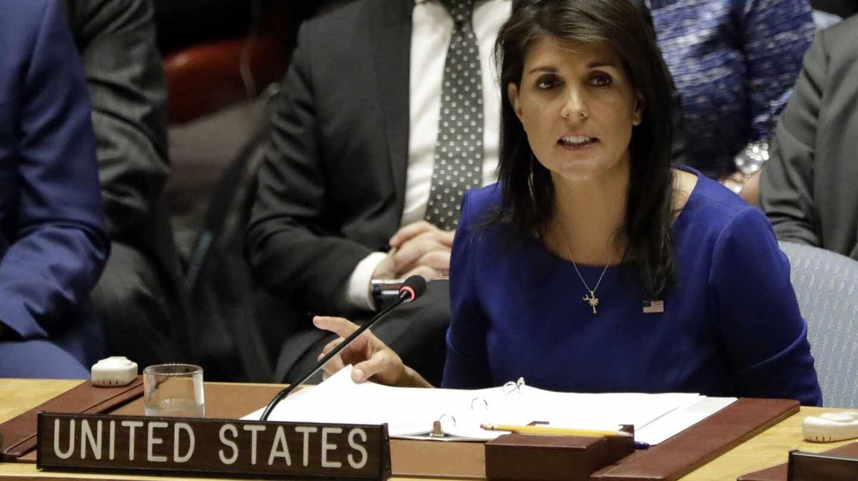 La embajadora de EEUU en la ONU, Nikki Haley, en el Consejo de Seguridad.