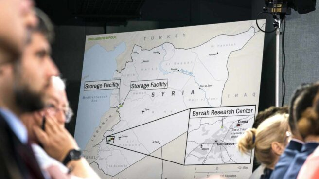 Uno de los gráficos del ataque a Siria presentados en el Pentágono.