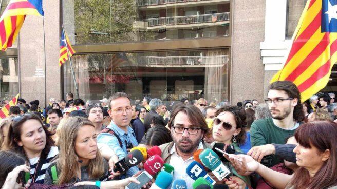 Camil Ros, líder de UGT en Cataluña, en la manifestación independentista.