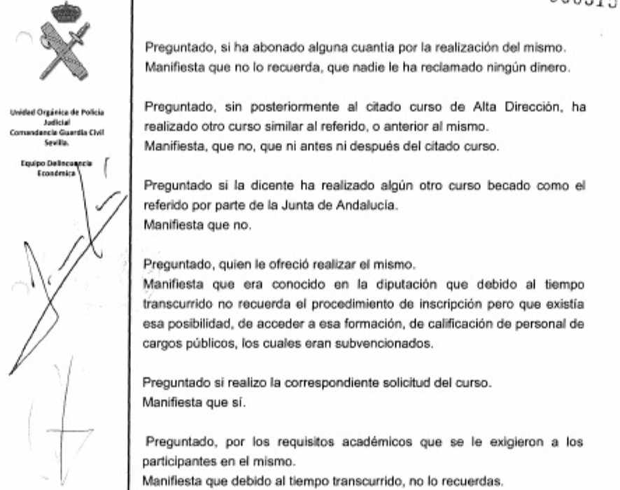 Extracto de la declaración de Verónica Pérez ante la Guardia Civil.