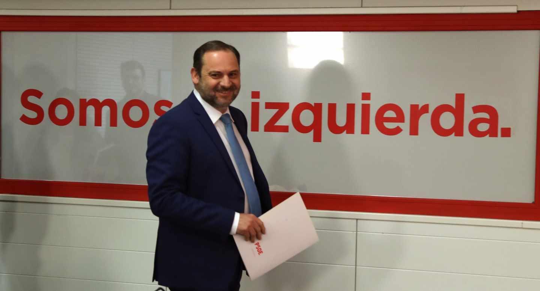 José Luis Ábalos, este viernes en la sede del PSOE en Ferraz.