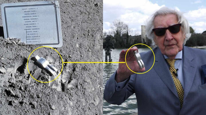 Paul Van Hoeydonck durante su visita a Madrid. Montaje con su escultura en la superficie lunar.