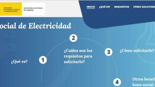 La web sobre el bono social lanzada por el Ministerio de Energía.