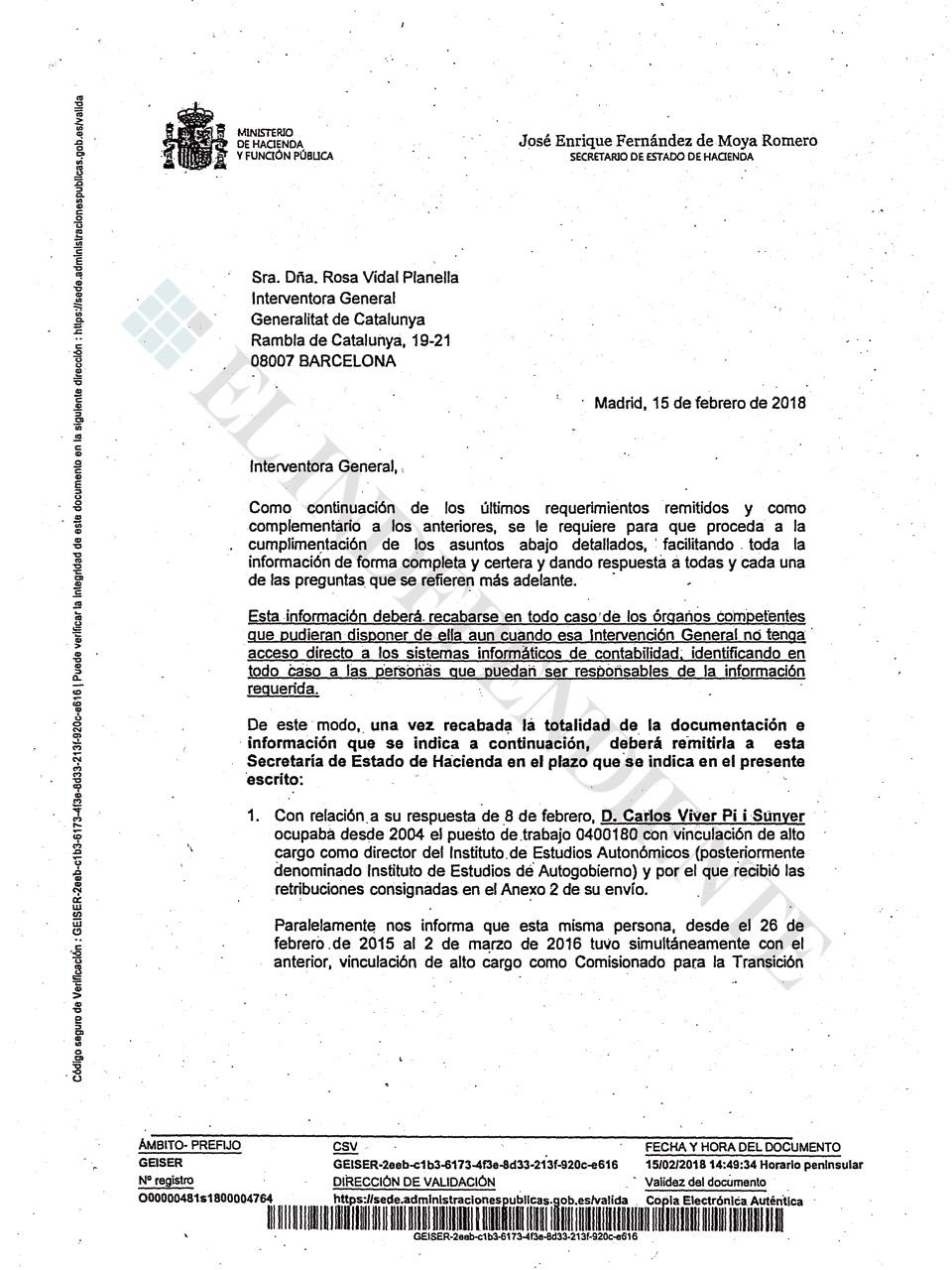 Carta a la interventora de la Generalitat
