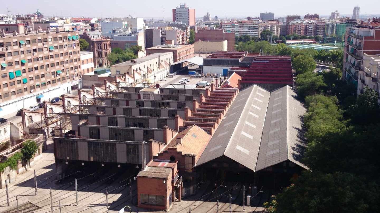 Vista aérea de las Cocheras de Metro de Cuatro Caminos.