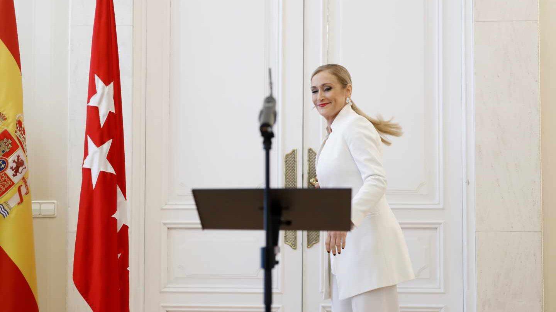 La ya ex presidenta de la Comunidad de Madrid, Cristina Cifuentes, antes de anunciar su dimisión.