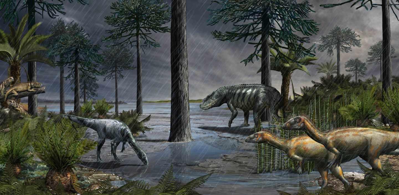 Aparición masiva de dinosaurios tras el episodio de lluvias del Carniano