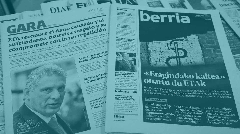 Las portadas de prensa con el comunicado de ETA.